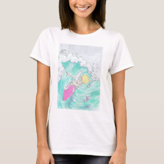 Surfing Santa, on a woman's t-shirt. T-Shirt