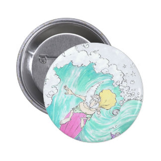 Surfing Santa. Pinback Button