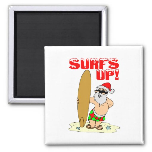 Surfing Santa Refrigerator Magnet