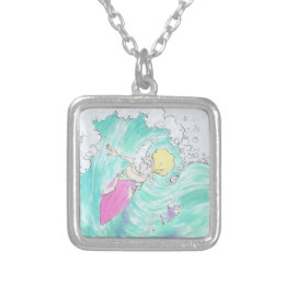 Surfing Santa, square necklace. Silver Plated Necklace