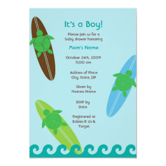 "Surfing Sea Turtle Baby Shower Invitation 5"" X 7"" Invitation Card"