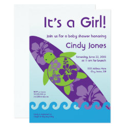 Surfing Sea Turtle Baby Shower Invitation - Purple