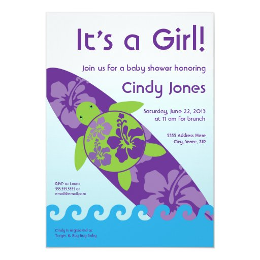 surfing sea turtle baby shower invitation purple zazzle