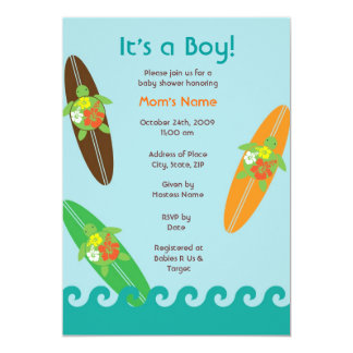 "Surfing Sea Turtle Baby Shower or Birthday Invitat 5"" X 7"" Invitation Card"