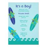 "Surfing Sea Turtles Baby Shower Invitation Blue 5"" X 7"" Invitation Card"