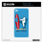 Surfing Shark Valentine Decal For The iPhone 4S