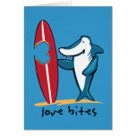 Surfing Shark Valentine Greeting Card
