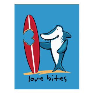 Surfing Shark Valentine Postcard