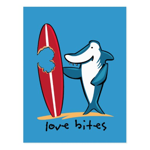 Surfing Shark Valentine Postcard