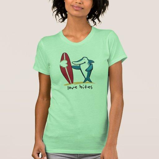Surfing Shark Valentine T Shirts