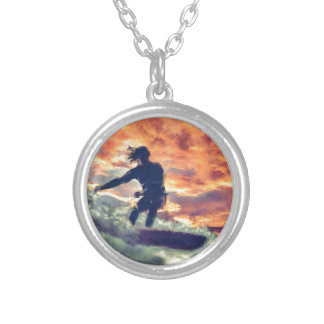 Surfing Silver Plated Necklace