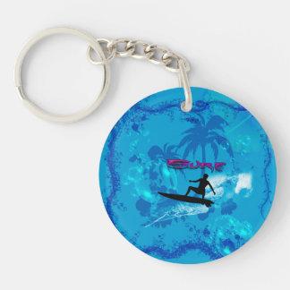 Surfing Single-Sided Round Acrylic Keychain