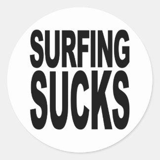 Surfing Sucks Classic Round Sticker