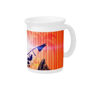 Surfing, sufboarder on elegant stripes background beverage pitchers