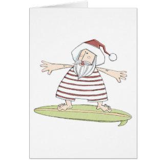 Surfing summer santa card