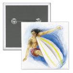 Surfing Summer Waves Pinback Button