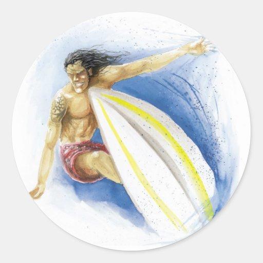 Surfing Summer Waves Round Stickers