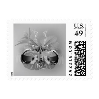 Surfing, sunglasses with surfboard and flowers postage stamp