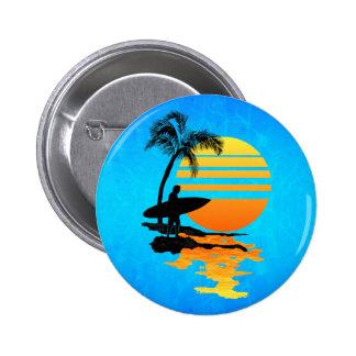 Surfing Sunrise 2 Inch Round Button