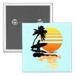 Surfing Sunrise 2 Inch Square Button