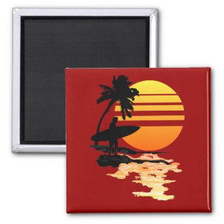Surfing Sunrise 2 Inch Square Magnet