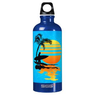 Surfing Sunrise Aluminum Water Bottle