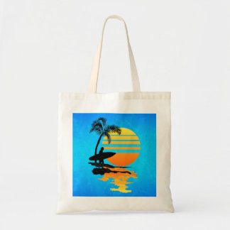 Surfing Sunrise Canvas Bag