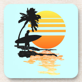 Surfing Sunrise Beverage Coaster