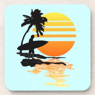 Surfing Sunrise Beverage Coaster