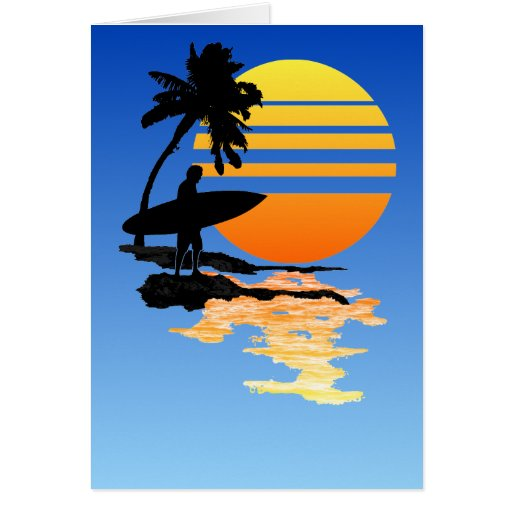 Surfing Sunrise Greeting Cards