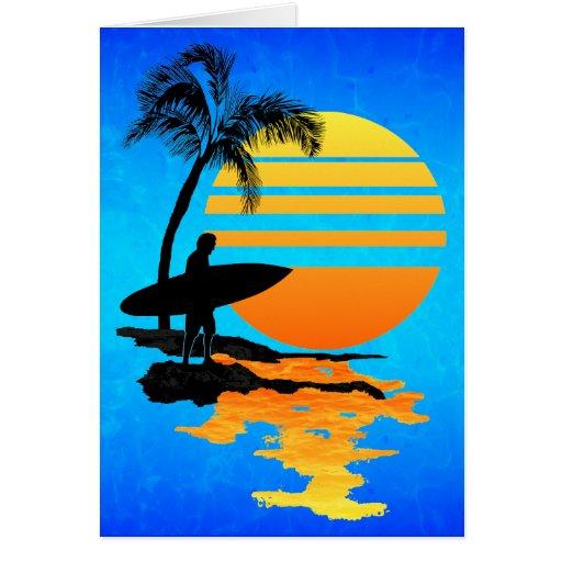 Surfing Sunrise Cards
