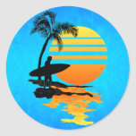 Surfing Sunrise Classic Round Sticker at Zazzle