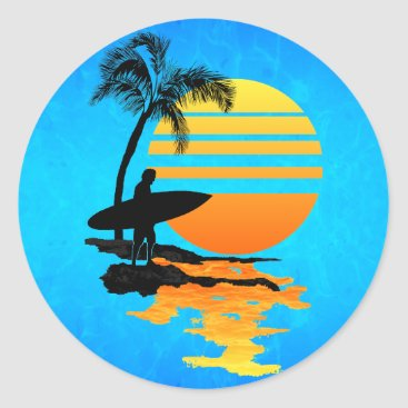 packratgraphics Surfing Sunrise Classic Round Sticker