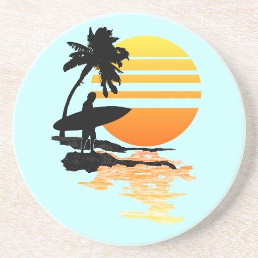 Surfing Sunrise Drink Coaster