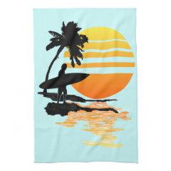 Surfing Sunrise Hand Towel