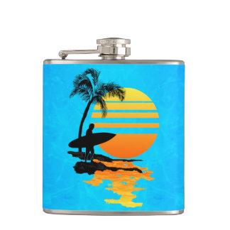 Surfing Sunrise Hip Flask