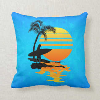 Surfing Sunrise Pillow