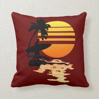 Surfing Sunrise Throw Pillow