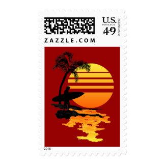 Surfing Sunrise Postage Stamps
