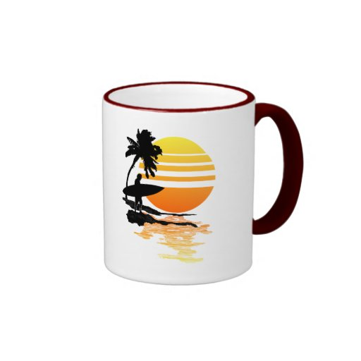 Surfing Sunrise Ringer Coffee Mug