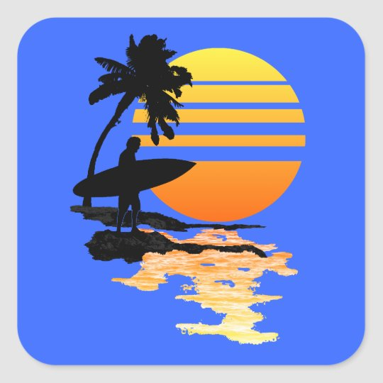 Surfing Sunrise Square Sticker