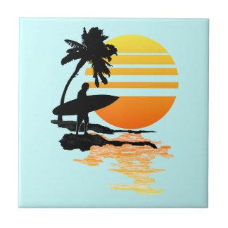 Surfing Sunrise Tiles