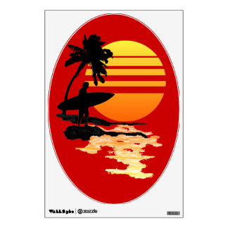 Surfing Sunrise Wall Decal
