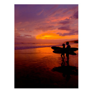 surfing sunset postcard