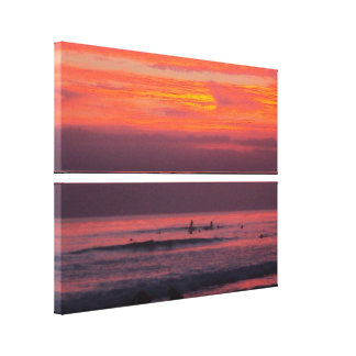 Surfing Sunsets - Stacked Canvas