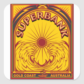 SURFING SUPERBANKS GOLD COAST AUSTRALIA SQUARE STICKER