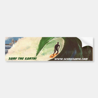 Surfing Surf the Earth Tube Ride Car Sticker Art Bumper Stickers