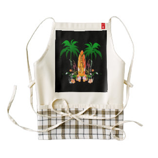 Surfing, surfboard and flowers zazzle HEART apron