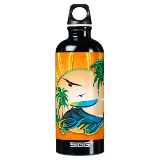 Surfing, surfboard on a round frame water bottle