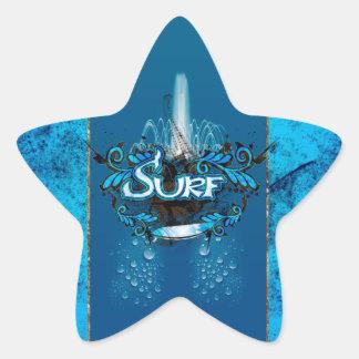 Surfing, surfboard with decorative floral elements star sticker